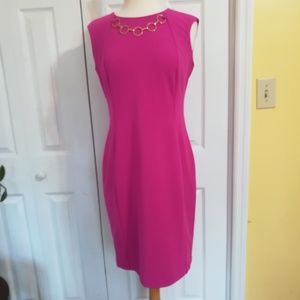 Calvin Klein pink sheath dress with gold accents